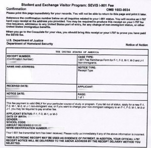 SEVIS I-901 fee confirmation